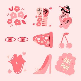 Набор векторных стикер силы девушки в розовом монохромном