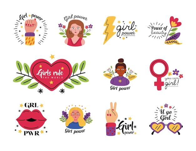 여성 권한 부여 여성 페미니즘과 권리 테마 그림의 소녀 전원 기호 세트 디자인