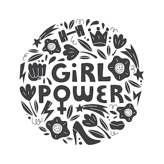 Girl power vector hand drawn lettering with female symbols in doodle style feminism concept