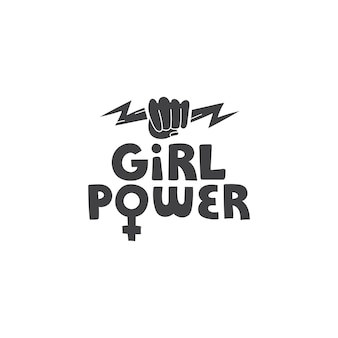 Girl power vector hand drawn lettering with fist and lightning symbols in doodle style feminism art