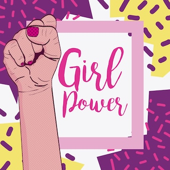 Girl power with hand clenched pop art