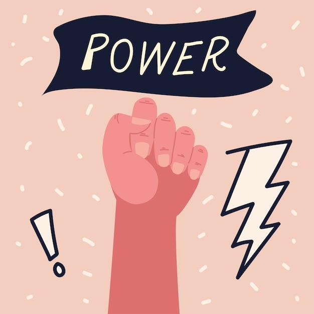 Girl power, woman raised hand strong attitude