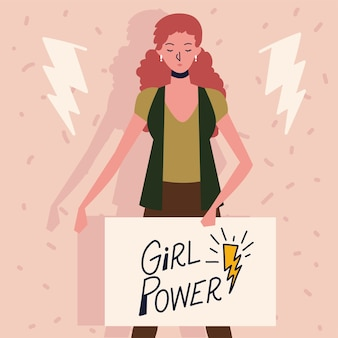 Girl power, woman standing with message in board