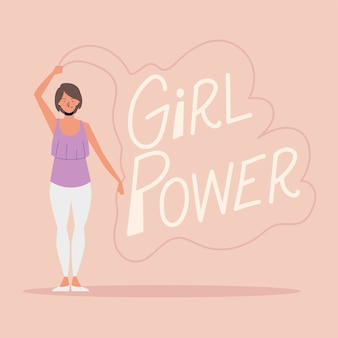 Girl power, woman with hand drawn lettering card