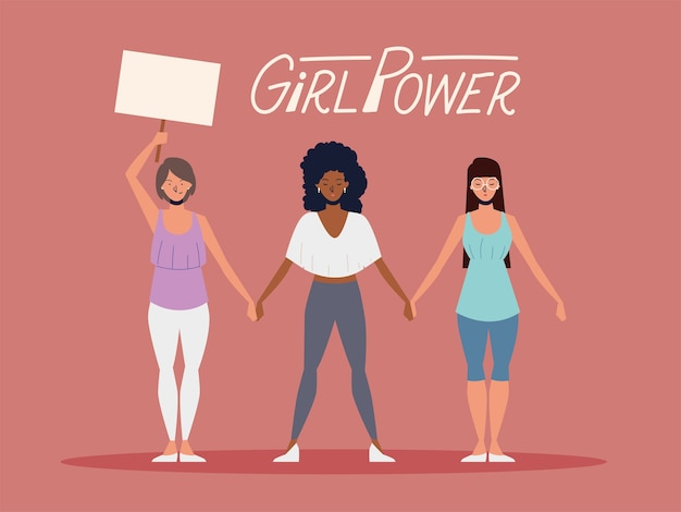 Girl power, women with placard and holding hands
