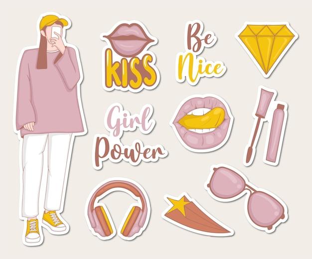 女の子のイラストといくつかの要素を備えた女の子の力のステッカーコレクション