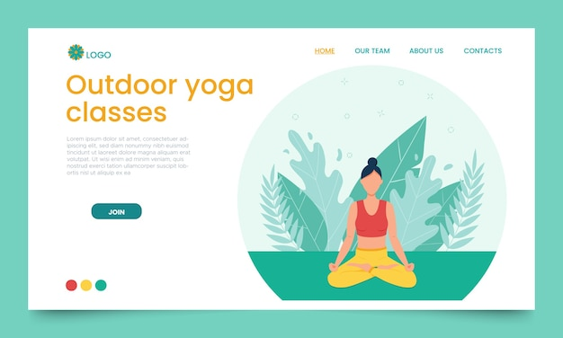 The girl practices yoga in the open air. landing page template.