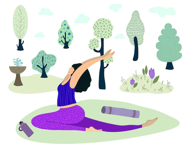 Girl practices yoga in park