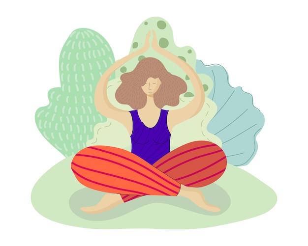 Girl practices yoga in park
