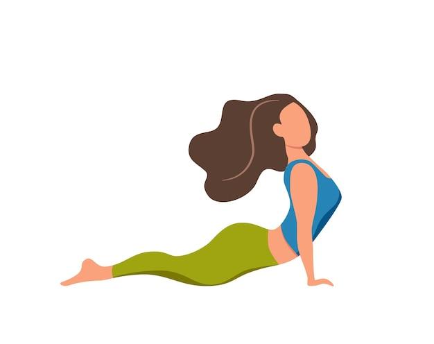 요가 아사나 포즈를 연습하는 소녀와 건강한 생활 방식 귀여운 만화 스타일 벡터 삽화. 피트 니스 디자인 운동 여자 훈련 개념입니다. 위치를 보여주는 여성 캐릭터 컬렉션