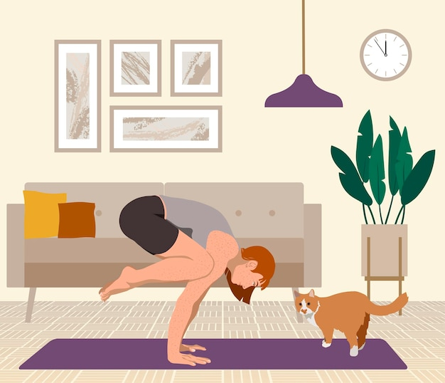 Girl practicing yoga with cat flat vector illustration
