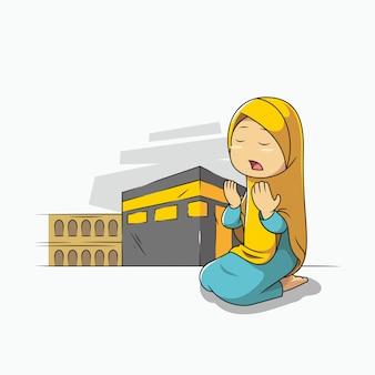 Девушка молится перед меккой каабой Premium векторы