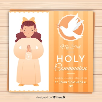 Girl praying first communion invitation