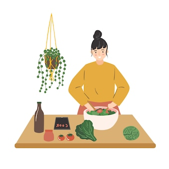 The girl prepares a vegetable salad. young woman mixing salad in bowl. cute flat  illustration