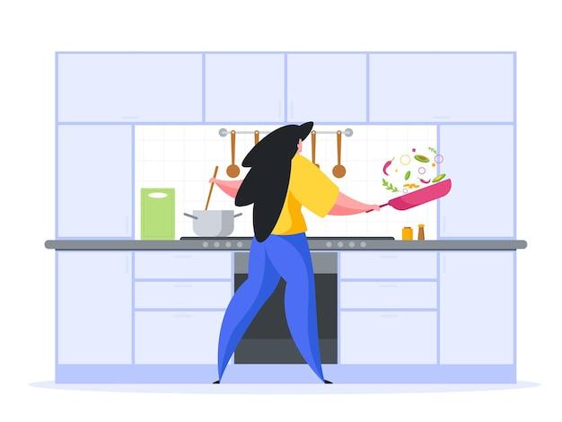 キッチンフラットイラストで夕食を準備する女の子