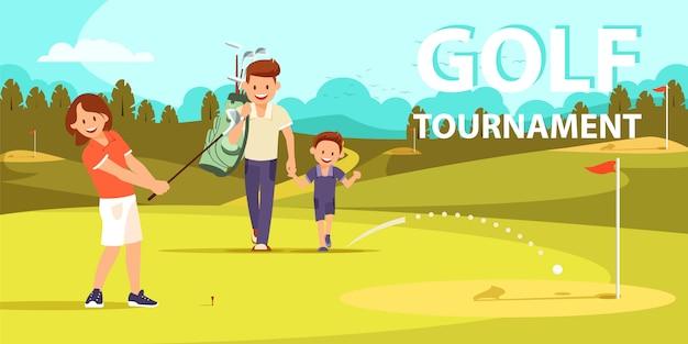 골프 게임에서 또 다른 타격을 준비하는 소녀.