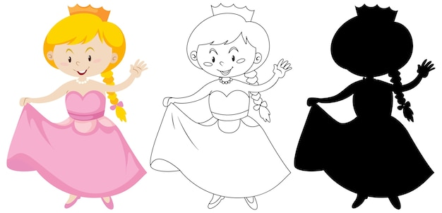 Girl in princess costume in color and outline and silhouette