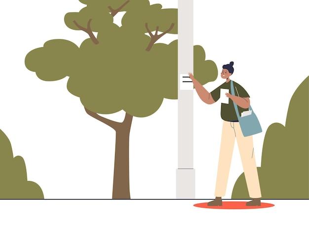 Девушка-промоутер раздает листовки с рекламой, наклеивает рекламные баннеры на столбы на улице в парке. наружное продвижение и распространение. плоские векторные иллюстрации шаржа