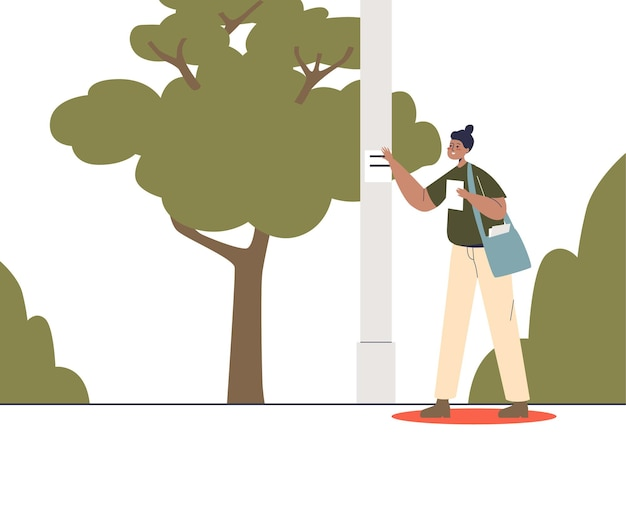 Girl promoter distribute flyers with advertisement, gluing promotional banners on pillars on street in park. outdoor promotion and distribution. cartoon flat vector illustration