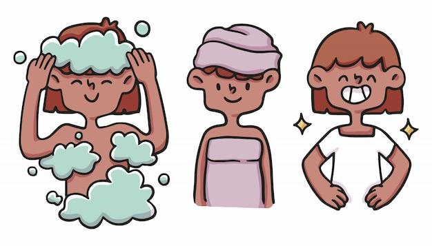 Девушка правильной гигиены набор милый мультфильм иллюстрации