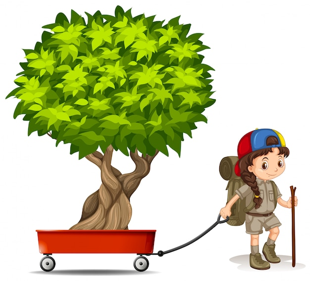 Girl pulling wagon with green tree