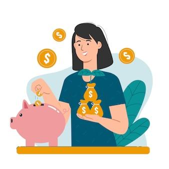 돼지 저금통에 동전을 넣어 소녀입니다. 저축 및 투자 개념