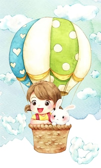 Girl, rabbit and balloon in the sky watercolor illustration