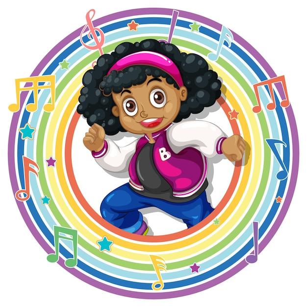 Ragazza in cornice rotonda arcobaleno con simboli di melodia