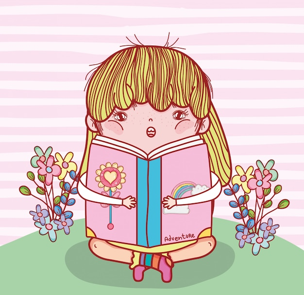 Girl read book literature with plants