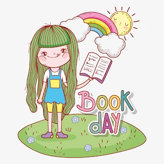Girl read book with rainbow and sun