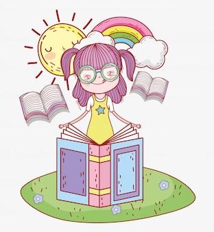 太陽と虹の本を読む少女