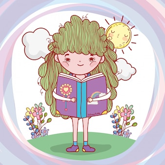 Girl read book with sun and flowers