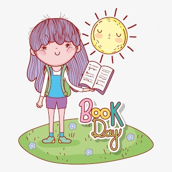 Girl read book with sun to literature day