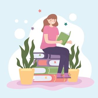 소녀 읽기 책
