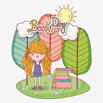 Girl read books information with trees and sun