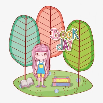 Girl read books to learn with trees