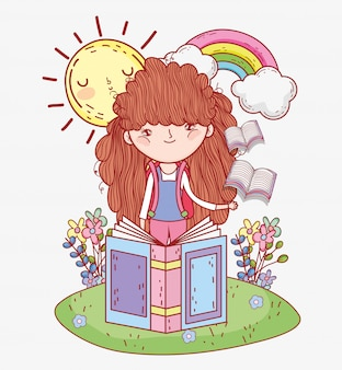 Girl read books with rainbow and sun