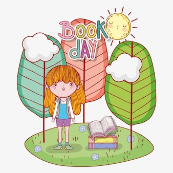 Girl read books with trees and sun
