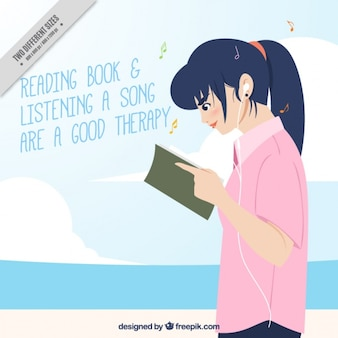 소녀 읽기 및 인용 배경