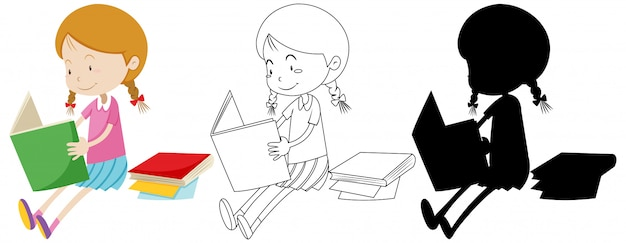 Girl reading book in colour and outline and silhouette