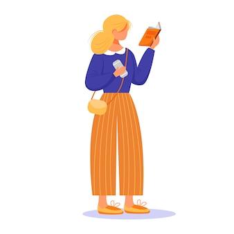 Girl reading book flat vector illustration
