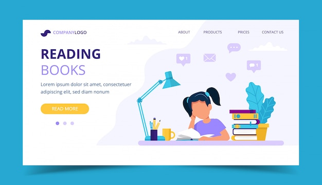 Girl reading a book landing page.