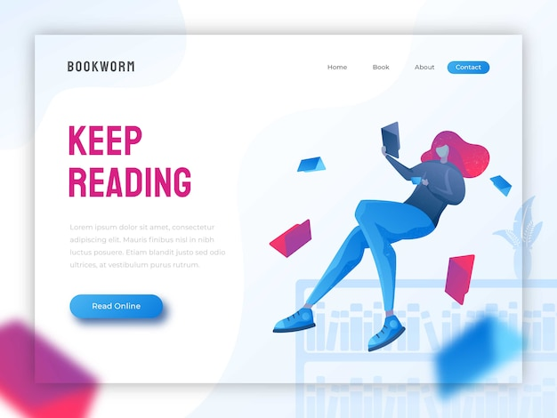 Girl reading a book landing page