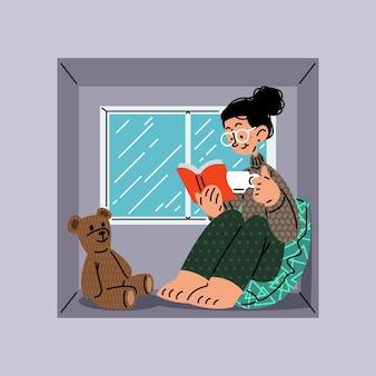 창 벡터 일러스트 레이 션에 책을 읽고 소녀