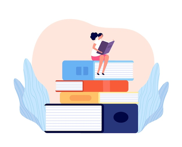 Girl reading book. outdoor learning, female read and relax on books pile. isolated student, person study in library college vector concept. character reading literature book illustration