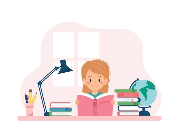 Girl reading a book sitting at a desk. vector illustration concept in cartoon style