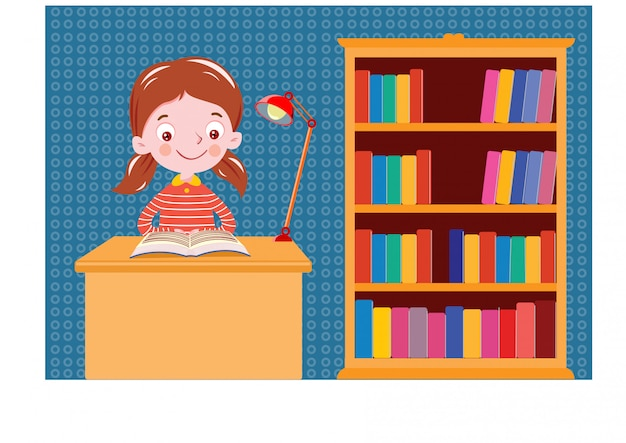 A girl reading book on the table bookshelf