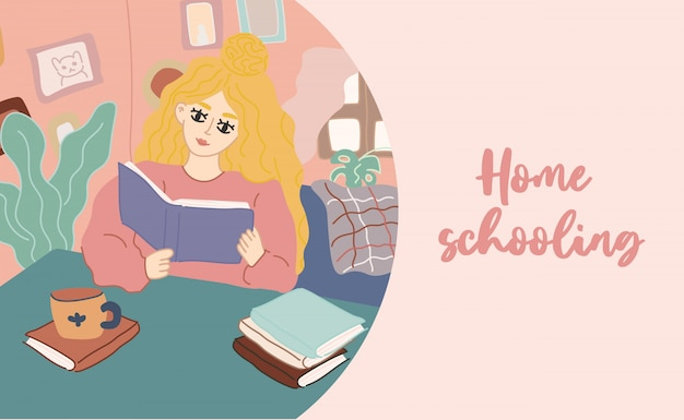 Girl reading a book while sitting on a sofa at home. hand drawn   trendy illustration. pastel colors. home education, schooling.