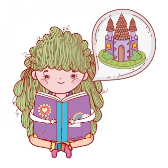 Girl reading book with castle in dream bubble