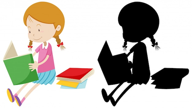 Girl reading the book with its silhouette
